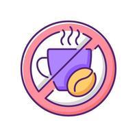 sem cafeína ícone de cor rgb vetor