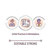 Práticas injustas no ícone do conceito de mercado vetor