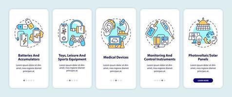 E-waste categorias integrando a tela da página do aplicativo móvel com conceitos vetor
