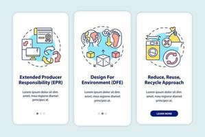 Iniciativas de redução de lixo eletrônico integrando a tela da página do aplicativo móvel com conceitos vetor