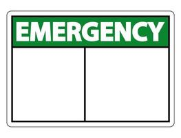 símbolo de etiqueta de sinal de emergência em fundo branco vetor