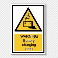 símbolo de advertência etiqueta de sinal de área de carregamento de bateria em fundo transparente vetor