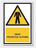 usar roupa protetora sinal de símbolo vetor