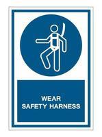 usar sinal de símbolo de arnês de segurança vetor