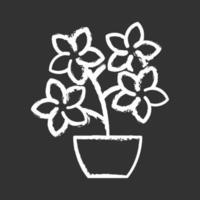 arbustos de árvores floridas ícone de giz branco sobre fundo preto vetor