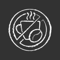 nenhum ícone de giz de cafeína branco em fundo preto vetor