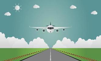 avião pousa no aeroporto na pista um avião pousando ou decolando. Ilustração em vetor