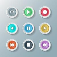 conjunto de ícones de símbolo de mídia player controle botões redondos brancos. ilustrador vetorial vetor