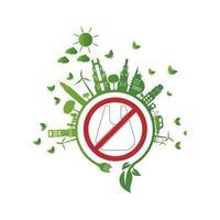 ecologia.Cidades verdes ajudam sem sacos de plástico Ideias de conceito ecológico. Ilustração em vetor