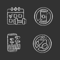 recomendações para evitar insônia ícones de giz branco em fundo preto vetor