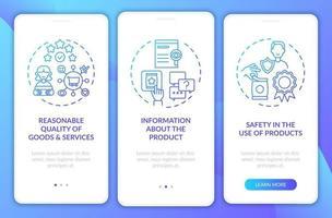 direitos do cliente na tela da página do aplicativo móvel com conceitos vetor