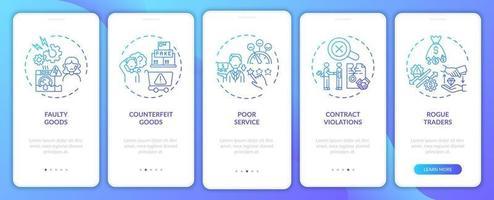 violação dos direitos do cliente tela da página do aplicativo móvel com conceitos vetor