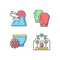 conjunto de ícones de cores rgb dos feriados nacionais da china vetor