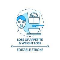 ícone do conceito de apetite e perda de peso vetor