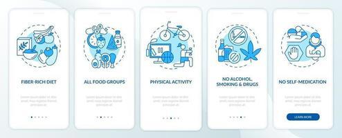 requisitos de saúde hepática na tela da página do aplicativo móvel com conceitos vetor