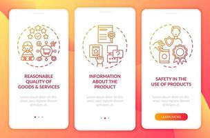 direitos fundamentais do cliente na tela da página do aplicativo móvel com conceitos vetor