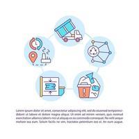 ícones de linha de conceito de logística abrangente com texto vetor