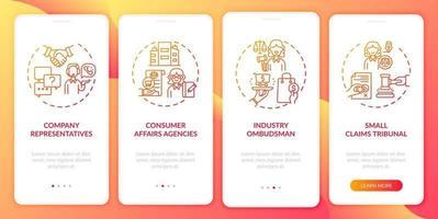 serviços de proteção ao cliente integração tela da página do aplicativo móvel com conceitos vetor
