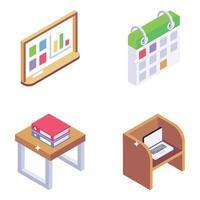 análise de negócios e móveis de escritório vetor