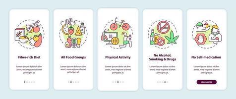 tela de página do aplicativo móvel com conceitos de requisitos de saúde do fígado vetor