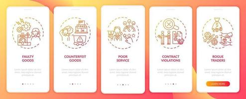 violação dos direitos do cliente reclamações na tela da página do aplicativo móvel com conceitos vetor
