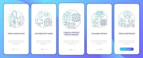 componentes de resíduos tóxicos integrando a tela da página do aplicativo móvel com conceitos vetor