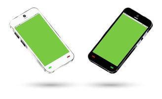 vista lateral de um smartphone com tela verde vetor