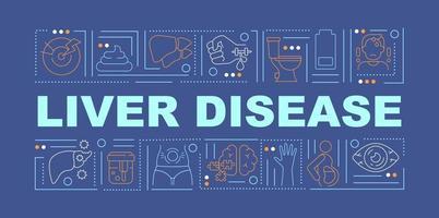 banner de conceitos de palavras de doença hepática vetor