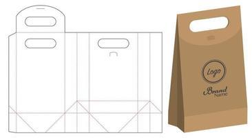 design de modelo cortado de embalagem de saco de papel. Maquete 3D vetor