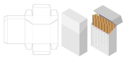maquete 3d de caixa de cigarro com caixa cortada vetor