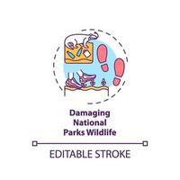 ícone do conceito de vida selvagem danificando parques nacionais vetor