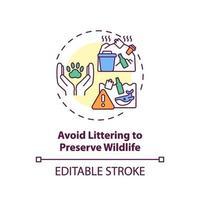 evite jogar lixo para preservar o ícone do conceito de vida selvagem vetor