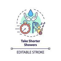 Tome banhos mais curtos, ideias de ícone vetor