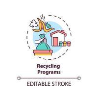 ícone do conceito de programas de reciclagem vetor