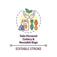 leve talheres pessoais e sacolas reutilizáveis ícone do conceito vetor