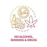 ícone do conceito sem álcool, fumo e drogas vetor