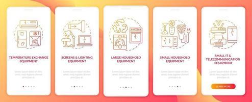 Grupos de e-scrap integrando a tela da página do aplicativo móvel com conceitos vetor