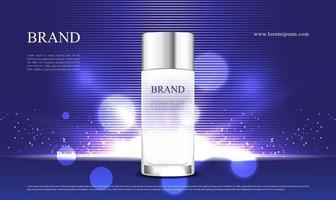 publicidade de produtos cosméticos com efeito de luz violeta e embalagem 3D vetor