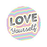 Flat Love Yourself Lettering Tipografia Estilo Ilustração Vetor