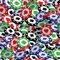 padrão sem emenda de fichas de pôquer, jackpot ou conceito vencedor. padrão de fichas de pôquer para tecido, roupas de bebê, plano de fundo, têxteis, papel de embrulho e outras ilustrações de decoração. vetor