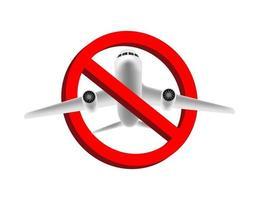 nenhum avião voando, vetor de sinal de proibição