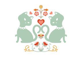 Ilustração folclórica de gato floral vetor
