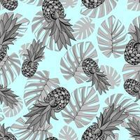 sem costura padrão exótico com folhas de palmeira abacaxi em fundo turquesa. monstera tropical deixa ilustração. design de Moda. imprimir tecido têxtil, papel de parede, papel de embrulho. vetor