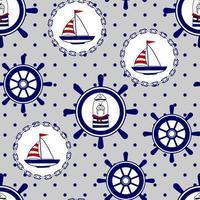 padrão de vetor marinho sem costura com morsa, barco, leme. impressões para roupas infantis, têxteis, papel e web.