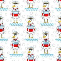 gaivota engraçada sem costura no círculo vermelho. impressão para tecido, papel e fundo. vetor