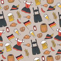 Padrão de elementos Oktoberfest rabiscado vetor