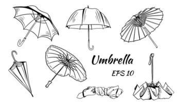 conjunto de guarda-chuvas de vetor. estilo de desenho animado. diferentes guarda-chuvas chineses, guarda-chuva fechado na mão em forma de coração. vetor