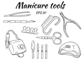 um conjunto de ferramentas de manicure. ferramentas para manicure e pedicure de hardware. aparelhos para manicura, cortadores, lâmpada ultravioleta. vetor