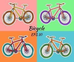 bicicleta. dia internacional da bicicleta. bicicleta desenhada em estilo cartoon. vetor