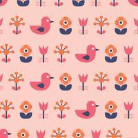 Pássaro escandinavo e flores vetor